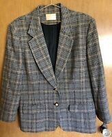 Vintage Pendleton Womens Houndstooth Plaid 100% Virgin Wool Blazer Jacket Sz 16
