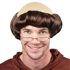 Medieval Monk Friar Tuck Stag Wig Bald Cap Fancy Dress Costume Accessory