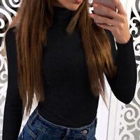 Women Long-Sleeve Turtleneck Casual Slim Tops Knit Sweater Winter T-shirt Blouse
