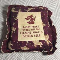 Vintage Needlepoint Handmade Angel Pillow