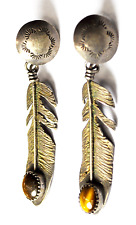 """Sterling Silver C Chama Oval Tiger Eye Feather Dangle Etch Earrings 14mm 2-1/4"""""""