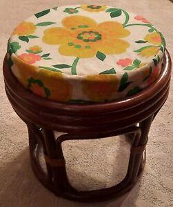 Vntg Retro Bentwood Bamboo Rattan Ottoman Footstool Hassock Boho Hippie Cushion