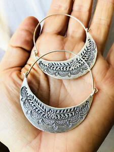 Fine Silver Natural Hoop Earrings From The Karen Hill Tribe Of Thailand