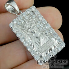 """New Real Sterling Silver .925 Lady Liberty Statue A++ Cz's Charm Pendant 1.5"""""""