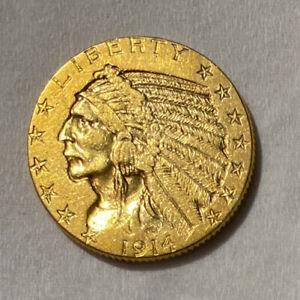 1914 Gold Indian Head $5.00 Half Eagle Coin
