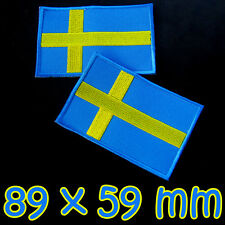 1 x Sweden Large Patch Flag 3.5 Inches Iron On Embroidered Swedish Stockholm DIY