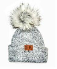 New listing Womens Soft Knit Beanie Cap with Faux Fur Pompom Heather Gray Nwt