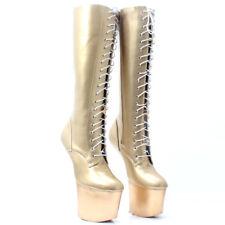 Women High Platform Lace Up Heelless Mid Calf Boot NightClub Patent Leather Shoe