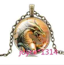 Vintage dragon Cabochon bronze Glass Chain Pendant Necklace #759