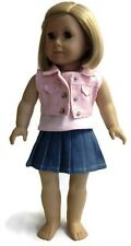 """Pink Vest, Pleated Skirt & Pink Tank Top for 18"""" American Girl Doll Clothes"""