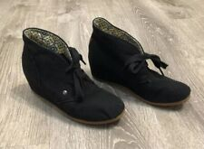 Ankle Boot Women's Size 8 Mad Love Black Lace Up Wedge Canvas Shoe