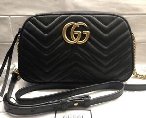 Authentic Gucci Marmont Shoulder Bag - Black with Original Receipt