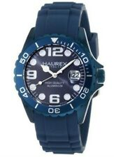 Haurex Italy Women's 1K374DB2 Ink Rubber Band Aluminum Blue Dial Watch