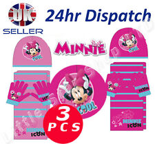 OFFICIAL Disney MINNIE MOUSE Baby Girl 3pcs SET Winter Hat Scarf and Gloves