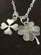 "Lucky 4 Leaf Clover Large Charm Tibetan Silver with 18"" Necklace  Mix A"