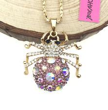 Pendant Betsey Johnson Jewelry Women Gift Rhinestone Spider Chain long Necklaces