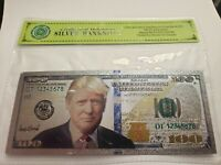 President Donald Trump $100 Silver Bill Stamped Silver .999 With COA Sleve!