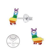 .925 Sterling Silver Rainbow Alpaca Llama Stud Earrings