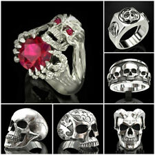 Unique Skull Head Ruby Claw Hand 925 Silver Men's Biker Rider Ring Band Jewelry