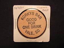 Yale, South Dakota Wooden Nickel token - Korkys Bar Wooden Nickel Drink Coin IND