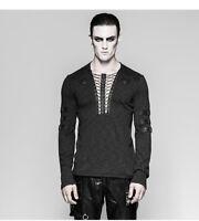 PUNK RAVE Fashion Chest Strap Black Steampunk Rock T-shirt Gothic  Men Tops