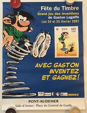 AFFICHE PUB 30x40 ¤ GASTON LAGAFFE / FRANQUIN ¤ FETE DU TIMBRE 2001 PONT-AUDEMER