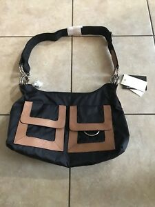LeSportsac Black with Brown Leather Trim Shoulder Bag