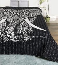 Elephant Mandala Cotton Kantha Quilt Queen Blanket Hippie Indian Bedspread Throw