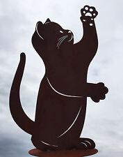 Katze streckt Pfote hoch spielend H46cm Rost Edelrost Metall Figur Katzen Kater