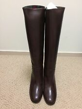 $1400 Chanel Brown  Leather CC Logo  Knee High Boots 38 New