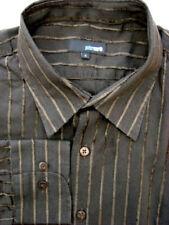 Peter Werth Camisa Mens 17 L Brown rayas con textura