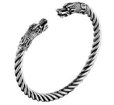 Bracelet Viking En Argent Avec Tête De Loup  Bijoux Gothique Unisexe