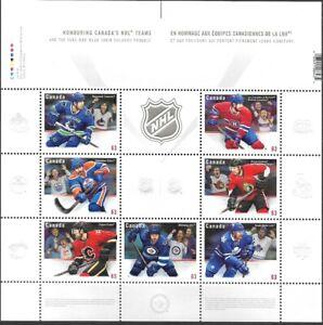 #2669 - Embossed sheet of stamps Honoring NHL in Canada - 2013 - superfleas