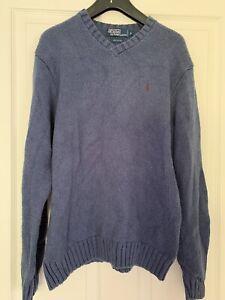 Ralph Lauren Knitted Jumper Blue Mens Medium VGC grr
