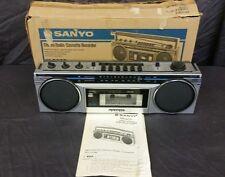 Vintage Sanyo Mini Slim Boombox AM FM Stereo Radio M6900 Cassette Ghetto Blaster