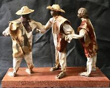 3 Paper Mache Village People Mexican Folk Art Figurine Sculpture Ethnic Culture