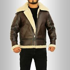 Men's RAF B3 100% Real Sheepskin Shearling Flying Leather Jackets All Sizes