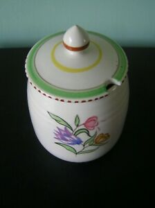 """AN ATTRACTIVE POOLE POTTERY LIDDED PRESERVE JAR SHAPE 287 & SIGNED: 5"""" TALL: VGC"""
