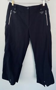 Jamie Sadock Golf Capri Pants Sz 12 Black Cropped Pockets Stretch Water Repel