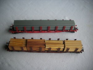 Märklin H0 2 Rungenwagen Rohre und Holzstämme