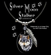 Silver Moon Stalker Wolf Necklace For Male Or Female Wolves Art - Free Ship L'