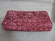 NWT Victoria's Secret Allover Pink Sequin Snap Closure Clutch Makeup Bag FRE SHP