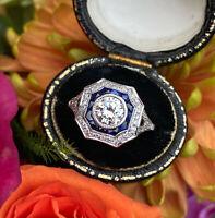 Art Deco Sapphire and Diamond Ring 1.10ct Diamond 18ct White Gold