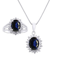 Princess Diana Inspired Halo Diamond & Sapphire Matching Pendant Necklace and R
