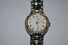 ESQ BY MOVADO LADIES WATCH SWISS  QUARTZ GOLD DIAMONDS  RUNNING SERIAL 100389