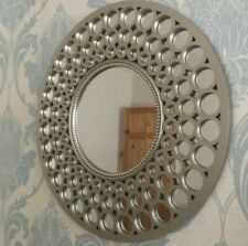 MOROCCAN LARGE SILVER ROUND WALL MIRROR ART DECO METALLIC SILVER ROUND MIRROR