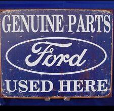 FORD GENUINE PARTS USED HERE Metal Tin Vintage Look Car Sign LOGO Garage Decor