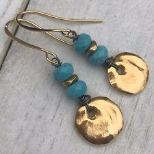 Min Favorit Mykonos Greek Casting Charm Earrings Genuine Turquoise & Gold