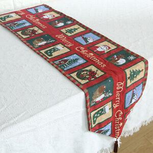 Christmas Table Runner Cover Cloth Xmas Tablecloth Cotton Linen Xmas Party Deco