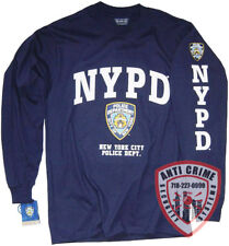 NYPD Shirt Long Sleeve Blue T-Shirt Gear Gifts Merchandise Womens Mens Apparel